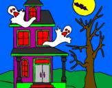 Coloriage Maison de l'horreur colorié par cloclo
