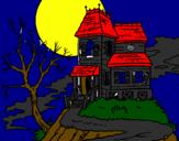 Coloriage Maison hantée colorié par mario   copa