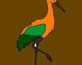 Coloriage Cigogne  colorié par brico