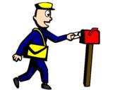 Coloriage Facteur colorié par policier
