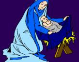 Coloriage Naissance de l'enfant Jésus colorié par Coloritou