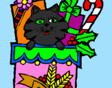 Coloriage Chaussette avec des cadeaux colorié par alan