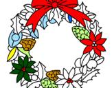 Coloriage Couronne de fleurs de Noël colorié par elisabeth