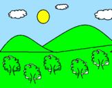 Coloriage  Montagne 4 colorié par Sara