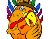 Coloriage Dinde pèlerin colorié par noumba