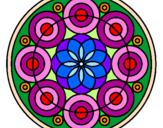 Coloriage Mandala 35 colorié par vitrail