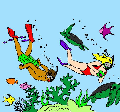 Dessin de plongeurs sous marins colorie par membre non - Dessin plongeur ...