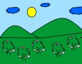 Coloriage  Montagne 4 colorié par Michaelle