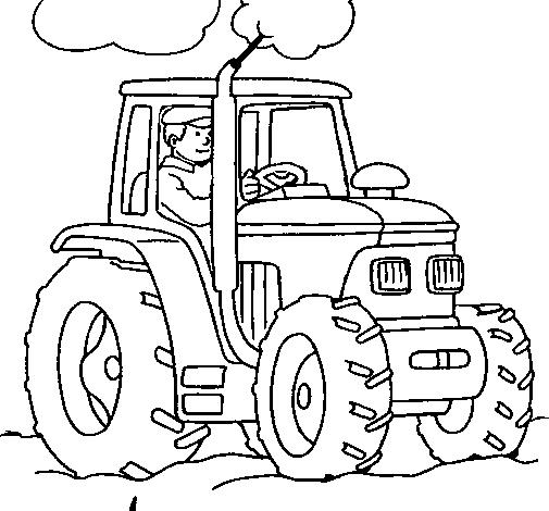 Dessin de tracteur en fonctionnement colorie par membre - Coloriage en ligne tracteur ...