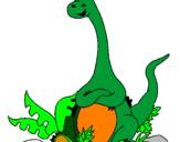Coloriage Diplodocus assis colorié par nathanp