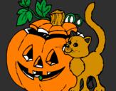 Coloriage Citrouille et chat colorié par justin