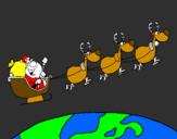 Coloriage Père Noël répartissant des cadeaux 3 colorié par justin
