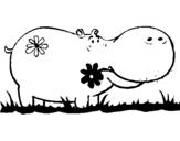 Coloriage Hippopotame avec des fleurs colorié par hippo