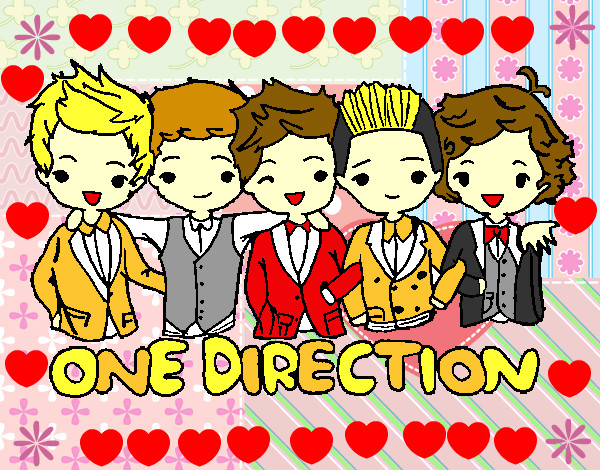 Coloriage One direction colorié par flore