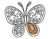 Coloriage Mandala papillon colorié par elina