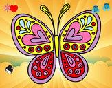 Coloriage Mandala papillon colorié par Camille_H