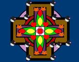 Coloriage Mandala 8 colorié par mandy