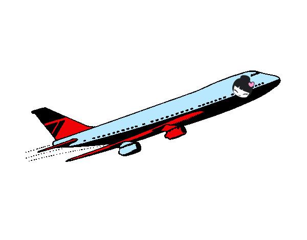 Dessin de avion en l 39 air colorie par raysko le 07 de mai - Dessin avion stylise ...