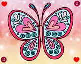 Coloriage Mandala papillon colorié par sakii8