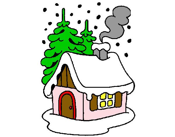 dessin de maison dans la neige colorie par jacqueline le. Black Bedroom Furniture Sets. Home Design Ideas