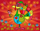 Coloriage Dinde drôle colorié par lucillx