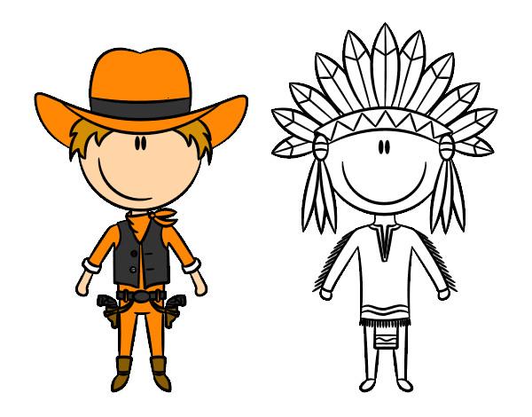 Dessin de contenu cowboy et indien colorie par hurlu le 22 - Dessin de cowboy ...