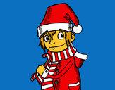 Coloriage Elfe de Noël colorié par Mary