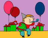 Coloriage La fête d'anniversaire colorié par kioulol11