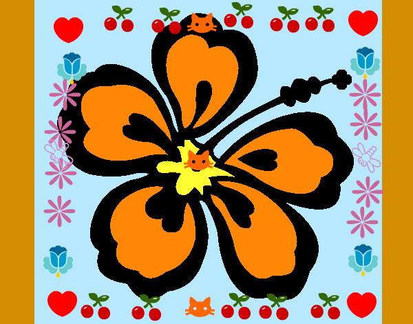 Dessin de fleur hawa enne colorie par liloub le 19 de - Fleure hawaienne ...