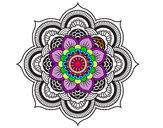 Coloriage Mandala fleur oriental colorié par JODOCI