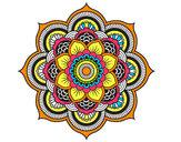 Coloriage Mandala fleur oriental colorié par lilyrams