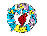 Coloriage Guirlande de Noël et le lapin colorié par godkiller