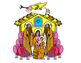 Coloriage Naissance de Jésus colorié par anais2008