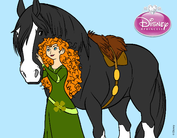 Dessin de rebelle merida et son cheval colorie par holic - Cheval rebelle ...