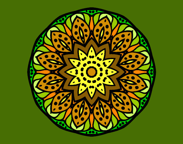 Coloriage Mandala nature colorié par KAKE