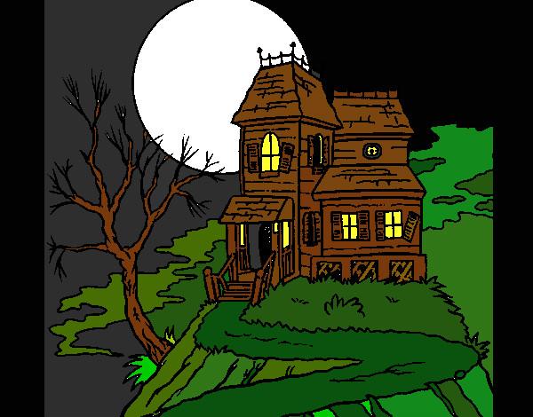 Dessin de maison hant e colorie par kake le 10 de avril de 2015 - Dessin de maison hantee ...