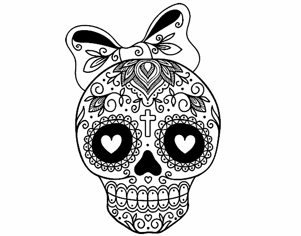 Dessin De Fête Des Morts Au Mexicain Avec Ruban Colorie Par