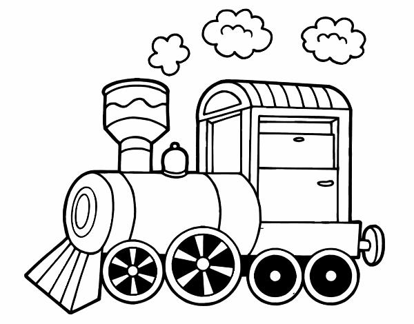 Dessin de locomotive vapeur colorie par membre non - Coloriage train a vapeur ...