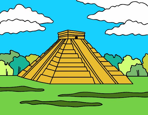 Dessin de pyramide de chich n itz colorie par membre non - Dessin de pyramide ...