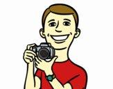 Gars avec un appareil photo