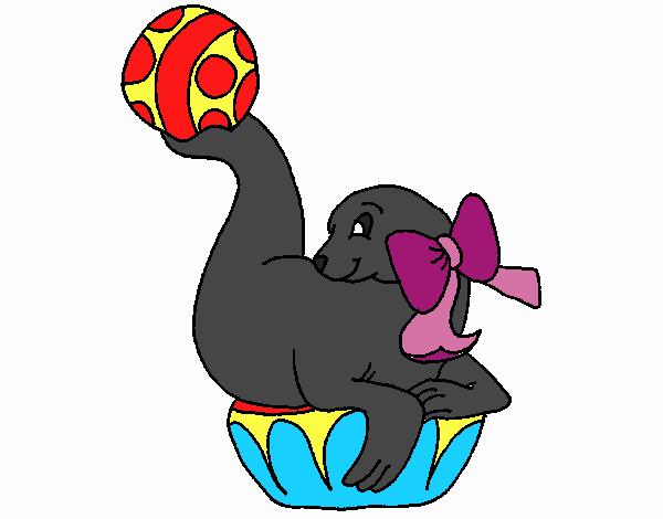 Dessin de Phoque jouant à la balle colorie par Membre non ...