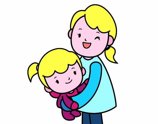 Dessin de c lin avec maman colorie par membre non inscrit le 11 de mai de 2015 - Dessin de calin ...