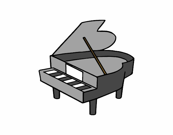 Dessin de piano queue ouvert colorie par membre non - Coloriage piano ...