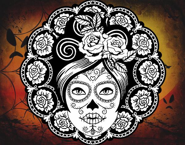 Dessin De Fête Des Morts Au Mexicain Femme Colorie Par