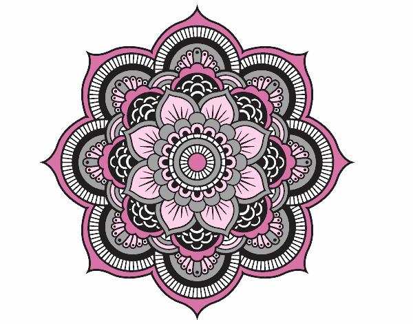 Dessin de mandala fleur oriental colorie par membre non - Mandala fleur ...