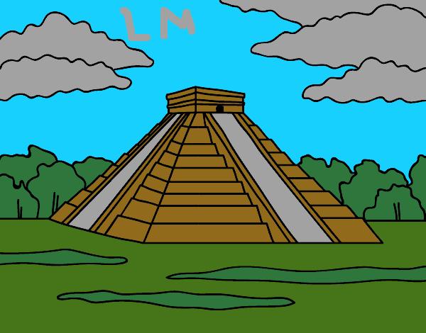 Dessin de pyramide de chich n itz colorie par lomanlou le - Dessin de pyramide ...