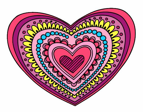 Dessin de mandala c ur colorie par membre non inscrit le 16 de septembre de 2015 - Mandala de coeur ...