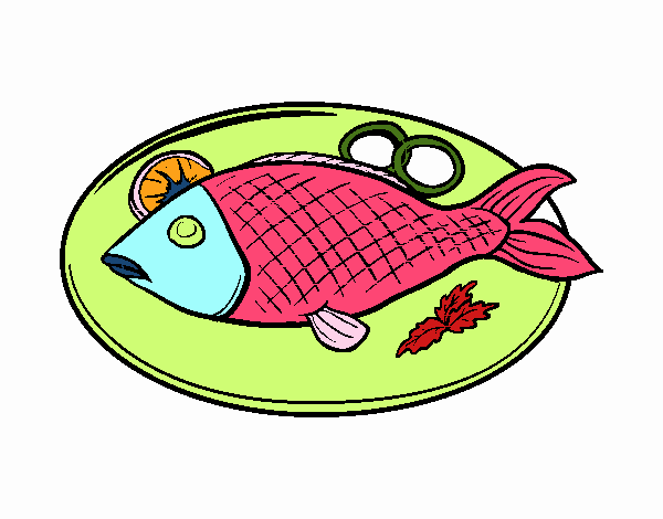 Dessin de plat de poisson colorie par membre non inscrit for Poisson aliment
