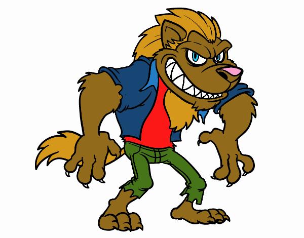 Dessin de loup garou colorie par membre non inscrit le 17 - Dessin loup garou ...