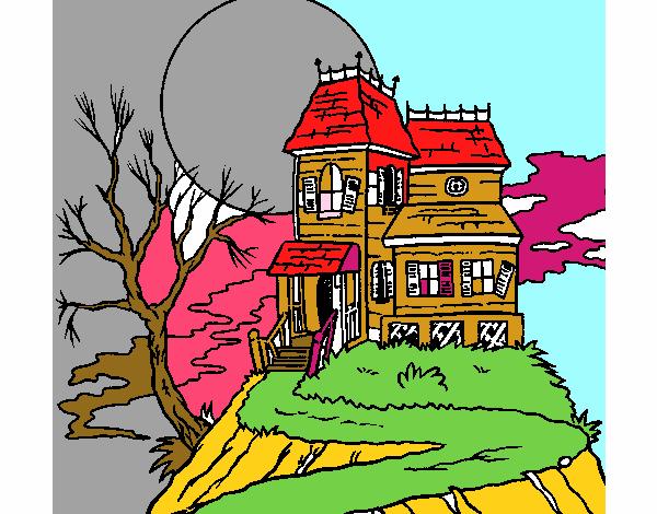 Dessin De Maison Hantée Colorie Par Membre Non Inscrit Le 31 De Octobre De 2015 à Coloritou.com